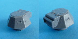 Turret: front left and back right views