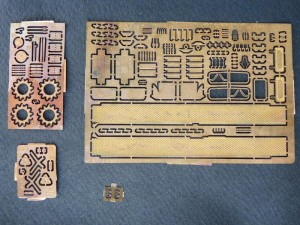 Photoetched plates - the two on the left are 0,3mm copper, the other two - 0,1mm brass