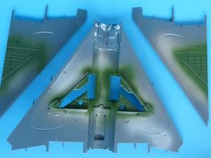 Landing gear bays - green paint on