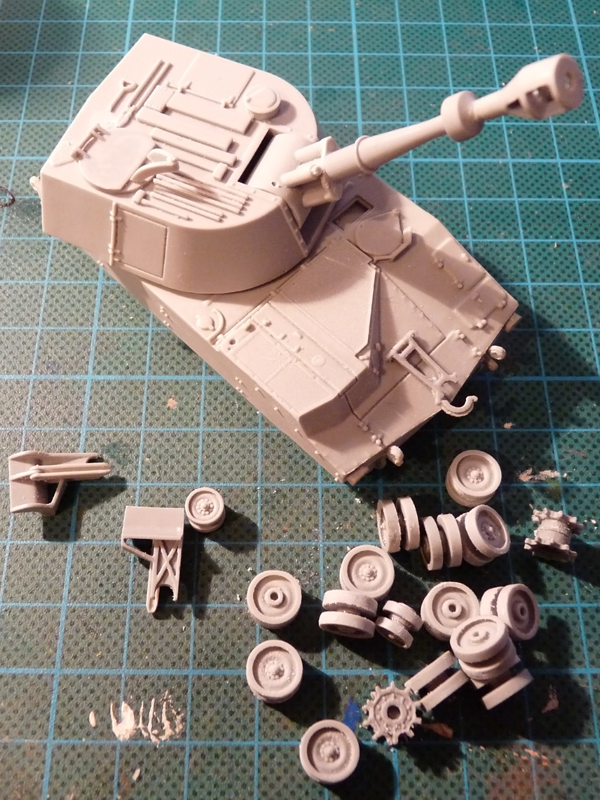 Quick hull and turret assembly, wheels and spades