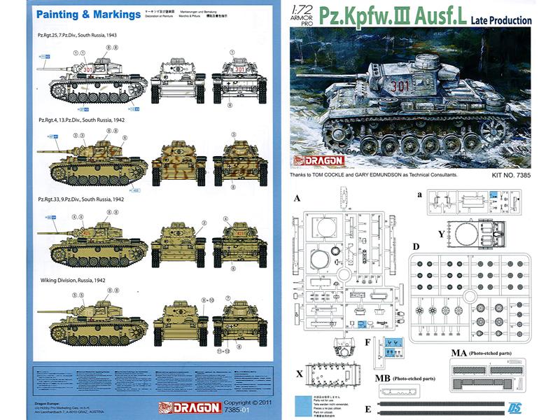 Dragon 1/72 Pz III Ausf. L, kit 7385, Instructions1