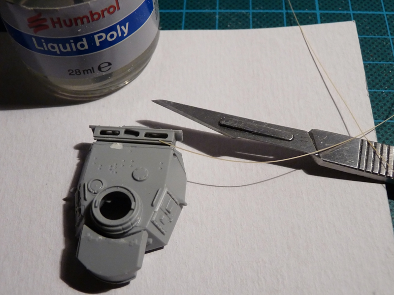 Dragon 1/72 Pz III Ausf. L, kit 7385 The turret, my trusty scalpel and stretched sprue for the weld seams