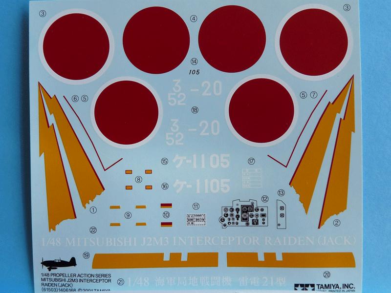 Tamiya 1/48 J2M3 Decals