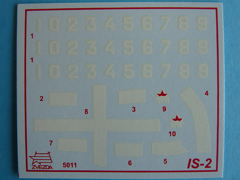 Zvezda's 1/72 IS-2, kit 5011 Decal sheet