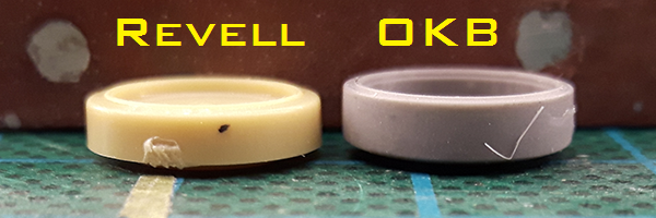 Early wheels: Revell vs OKB Grigorov side profile comparison