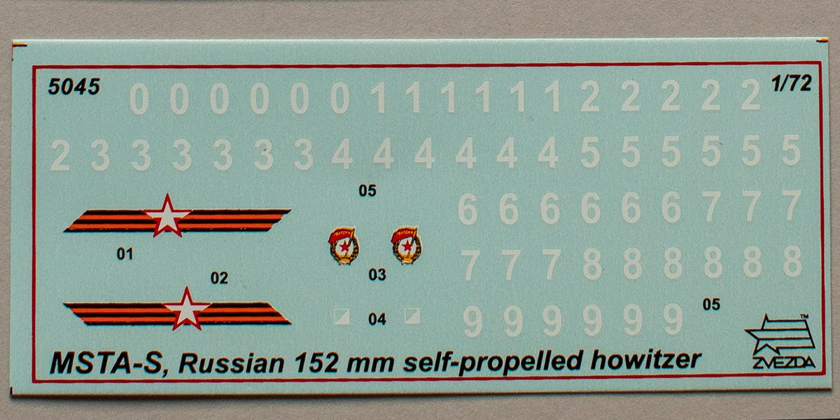 Zvezda 1/72 Msta-S decal sheet