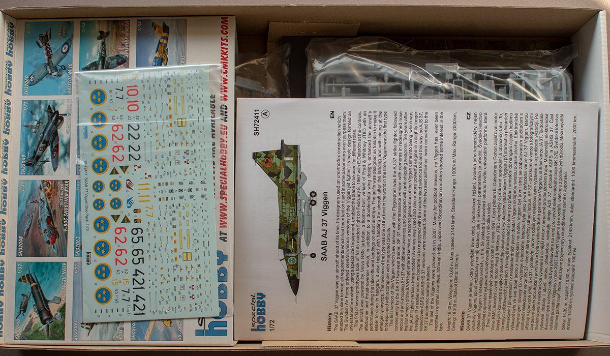 Special Hobby Viggen set 72411 - box contents