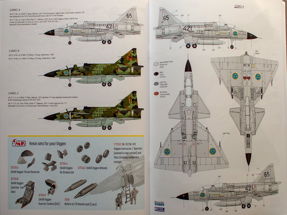 Special Hobby Viggen SK-37 markings and painting guide