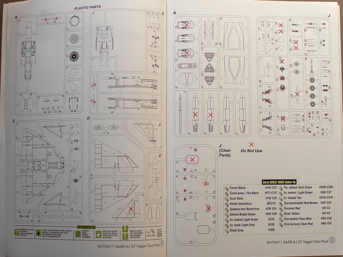 Special Hobby AJ-37 Viggen parts plan