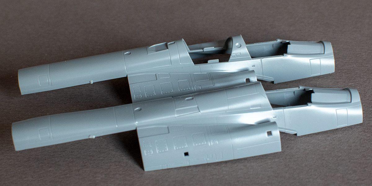 AJ-37 (near) and SK-37 Viggen fuselage top comparison