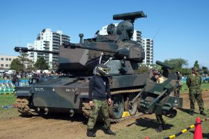 Actual Type 87 and mascots, note track with rubber pads.